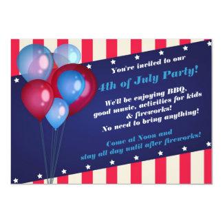 Globos y rayas 4tos de las invitaciones del fiesta anuncio personalizado