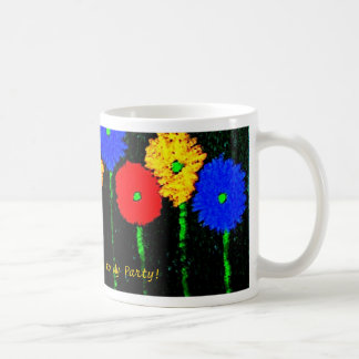 Globos y taza de café de las flores