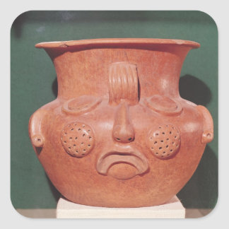 Globular vase with a face, from Kalminaljuy Square Sticker