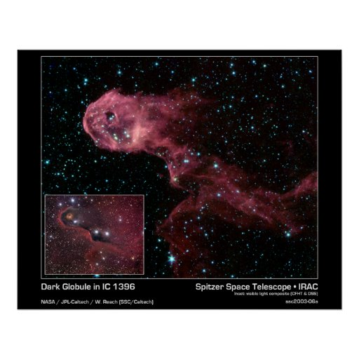 Glóbulo oscuro en IC 1396 - telescopio espacial de Poster