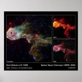 Glóbulo oscuro en IC 1396 - telescopio espacial de Póster