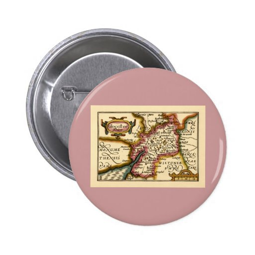 """""""Glocestershire"""" Gloucestershire County Map Buttons"""
