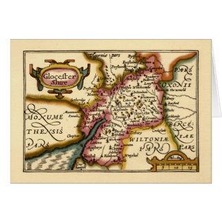 """Glocestershire"" Gloucestershire County Map Card"