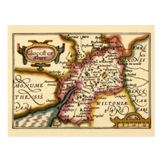 """Glocestershire"" Gloucestershire County Map Postcard"