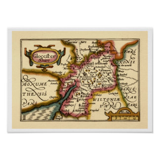 """""""Glocestershire"""" Gloucestershire County Map Poster"""