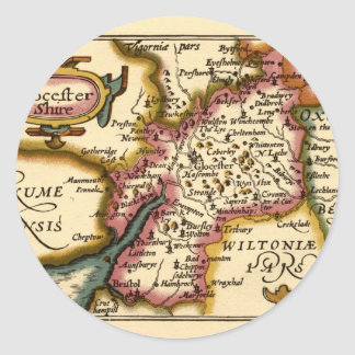 """Glocestershire"" Gloucestershire County Map Classic Round Sticker"