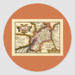 """""""Glocestershire"""" Gloucestershire County Map Classic Round Sticker"""
