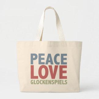 Glockenspiels del amor de la paz bolsas lienzo