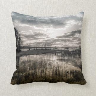 Gloomy lake throw pillow