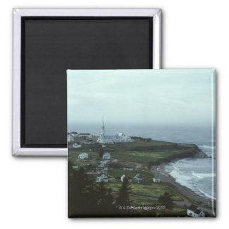 Gloomy seaside village fridge magnets