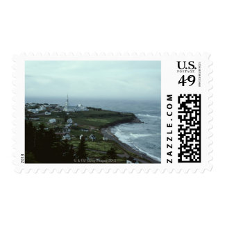 Gloomy seaside village postage