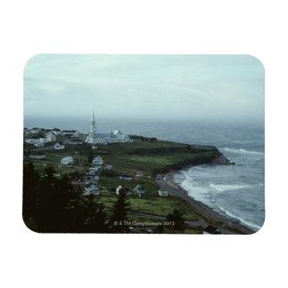 Gloomy seaside village rectangular magnets