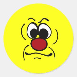 Gloomy Smiley Face Grumpey Classic Round Sticker