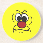 Gloomy Smiley Face Grumpey Coaster