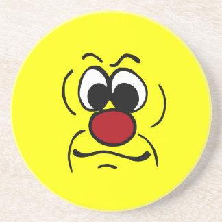 Gloomy Smiley Face Grumpey Coaster