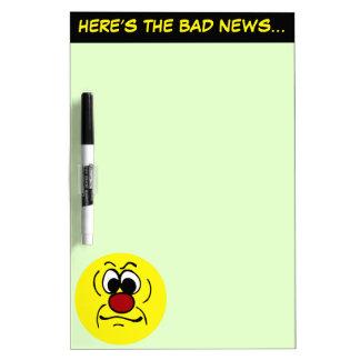 Gloomy Smiley Face Grumpey Dry-Erase Board