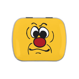 Gloomy Smiley Face Grumpey Jelly Belly Candy Tin