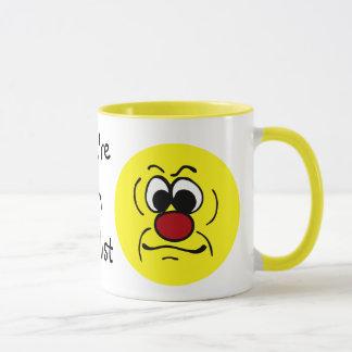 Gloomy Smiley Face Grumpey Mug