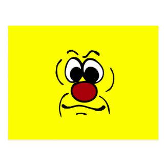 Gloomy Smiley Face Grumpey Postcard