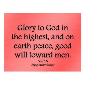 Gloria a dios en el 2:14 más alto de Lucas Tarjeta Postal