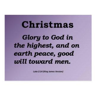 Gloria a dios en el alto 2:14 de Lucas del navidad Tarjetas Postales