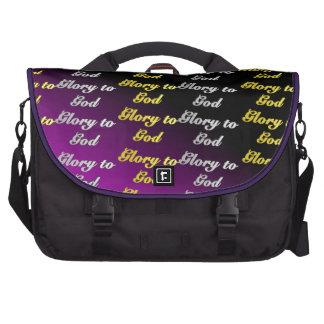 Gloria a dios (púrpura) bolsas de portátil