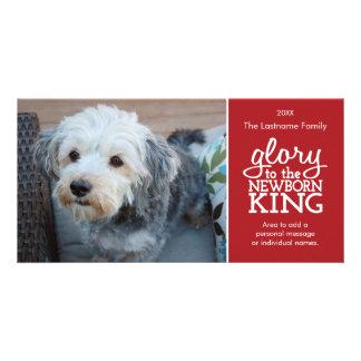 Gloria al rey recién nacido Red y a la tarjeta de  Tarjetas Fotograficas