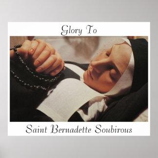 Gloria al santo Bernadette Soubirous Póster