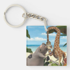 Gloria And Melman Hand Holding Keychain at Zazzle