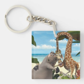 Gloria And Melman Hand Holding Keychain by madagascar at Zazzle