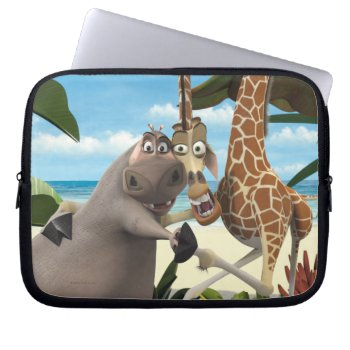 Gloria And Melman Hand Holding Laptop Sleeve by madagascar at Zazzle