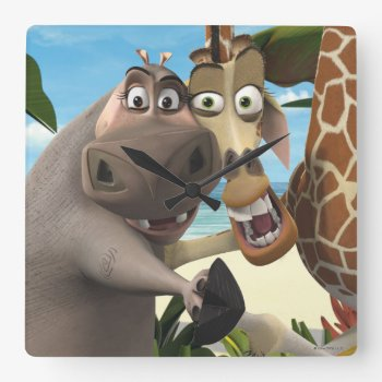 Gloria And Melman Hand Holding Square Wall Clock by madagascar at Zazzle