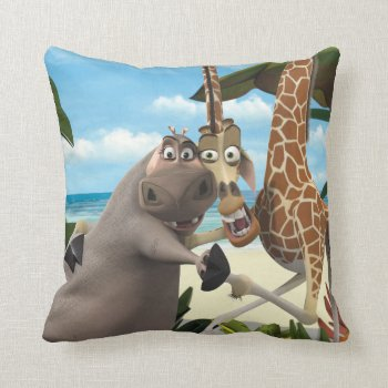 Gloria And Melman Hand Holding Throw Pillow by madagascar at Zazzle