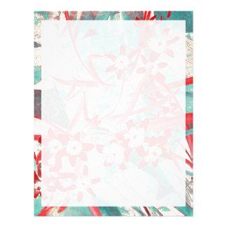 Gloria de la nieve - rojo y turquesa plantilla de membrete