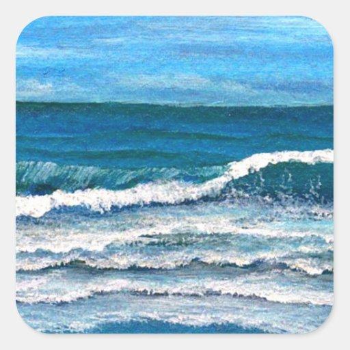 Gloria del mar - arte del océano de CricketDiane Calcomanias Cuadradas