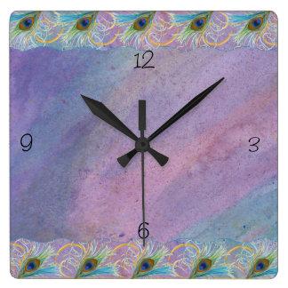 Gloria del pavo real de Watercoclor Reloj