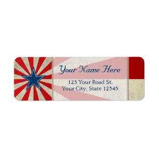 Gloria envejecida - rojo, blanco y azul etiqueta de remitente