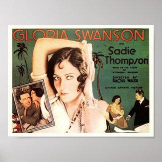 """Gloria Swanson in """"Sadie Thompson"""" Poster"""