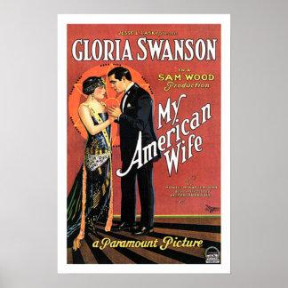 Gloria Swanson mi cartel de película americano de  Impresiones
