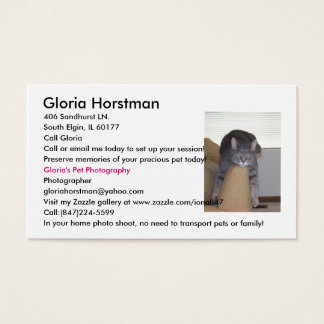 Gloria's Pet Photography business cards