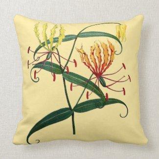 Gloriosa Lilies Orange and Yellow Throw Pillow