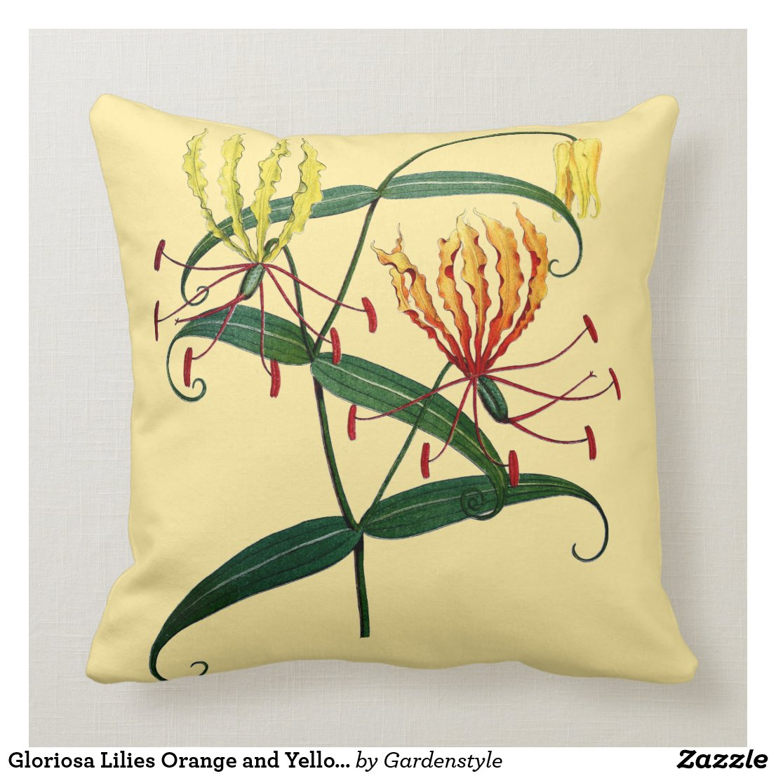 gloriosa lilies orange and yellow throw pillow