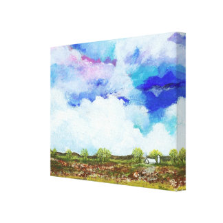 Glorious Abstract Landscape Art Farm Barn House Gallery Wrapped Canvas