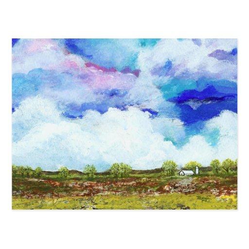 Glorious Abstract Landscape Art Farm Barn House Postcard