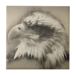 Glorious Bald Eagle Setch Ceramic Tile