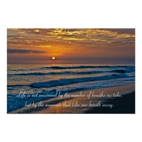 Persistence Motivational Quotes: Glorious California Pacific Ocean Sunset Poster