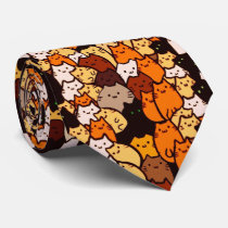 Glorious cats pattern .. Kawaii doodle art Neck Tie