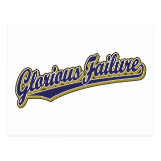 Glorious Failure script logo in blue Postcard