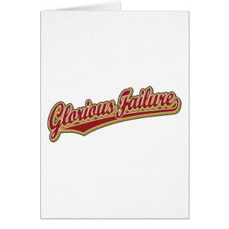 Glorious Failure script logo in red Card