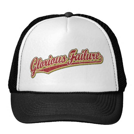 Glorious Failure script logo in red distressed Hat